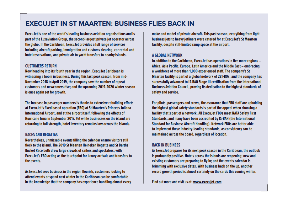 November 2019 - Business Focus Magazine - ExecuJet In St Maarten: Business Flies Back In