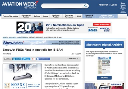 April 2018 - Aviation Week - ExecuJet FBOs First in Australia for IS-BAH view