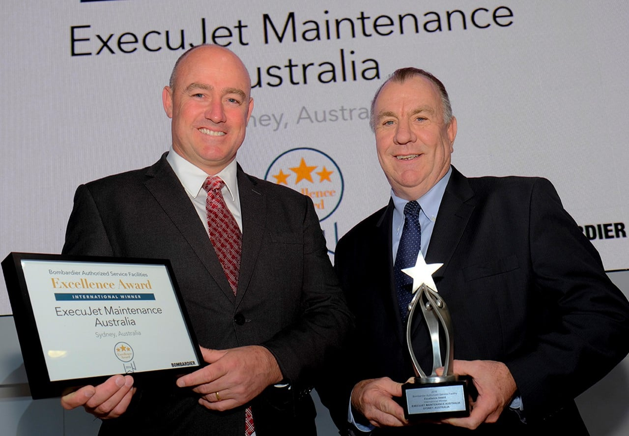 ExecuJet Sydney is winner of Bombardier's 'International' ASF Excellence Awards 2016