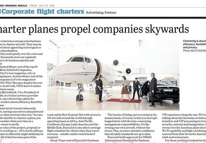 July 2018 - Sydney Morning Herald - Charter planes propel companies skywards