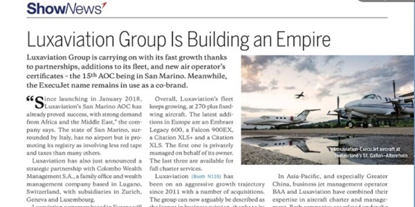 May 2018 - Aviation Week - Luxaviaton Group is building an Empire