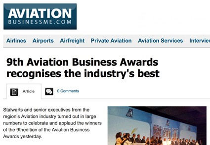 October 2015 - Aviation Business ME - 9th Aviation Business Awards recognises the industry's best