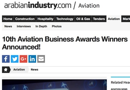 October 2016 - ArabianIndustry.com - 10th Aviation Business Awards Winners Announced!
