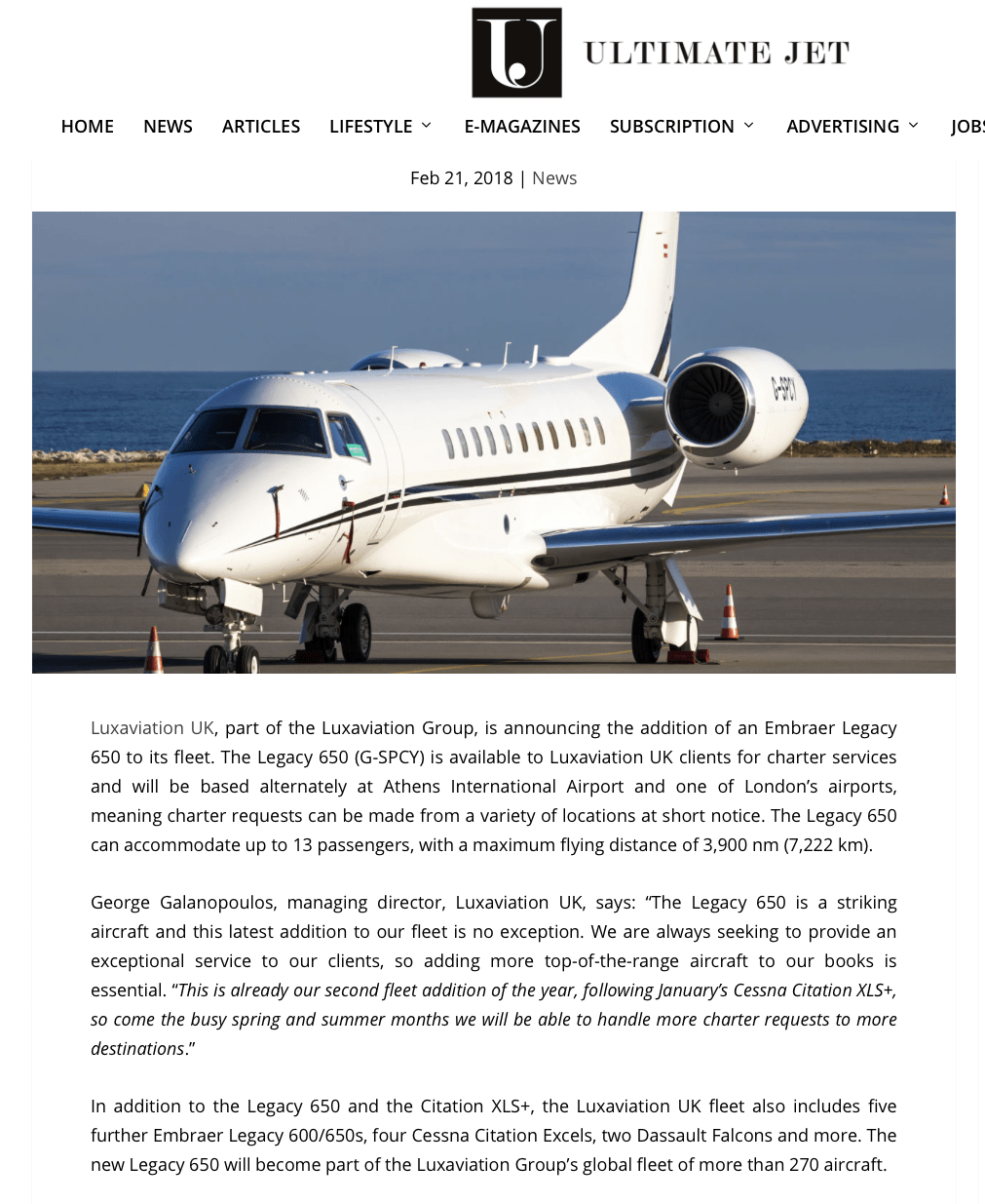 February 2018 - Ultimate Jet - LUXAVIATION UK ADDS EMBRAER LEGACY 650 TO FLEET