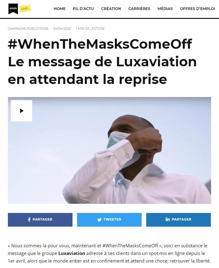 #WhenTheMasksComeOff Le message de Luxaviation en attendant la reprise