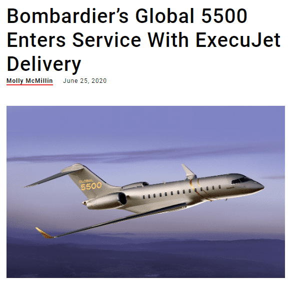 Bombardier's Global 5500 Enters Service With ExecuJet Delivery